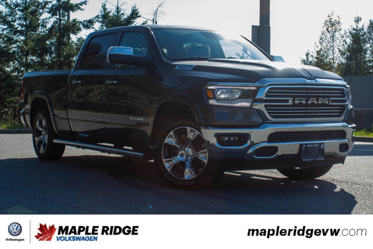 Pre-Owned 2019 Ram 1500 Laramie 4X4 CREW CAB, LEATHER, PANO ROOF, NO ACCIDENTS, B.C. TRUCK!
