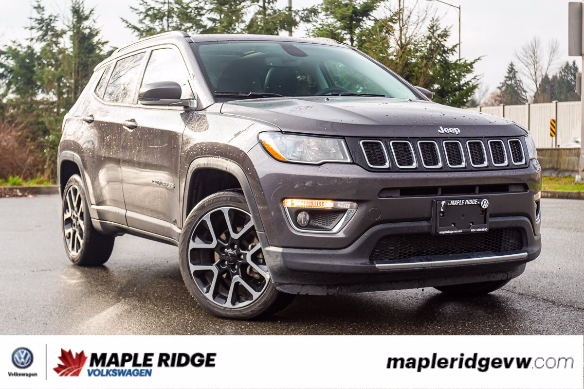Pre-Owned 2019 Jeep Compass Limited 4X4, LEATHER, PANO ROOF, NAV, NO ACCIDENTS, B.C. SUV!